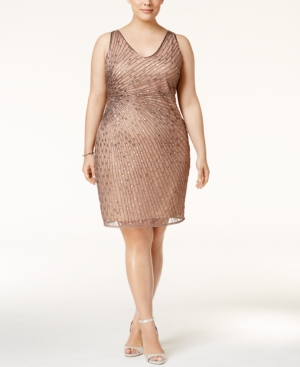 1920s Plus Size Dresses Adrianna Papell Plus Size Beaded Cocktail Dress $189.00 AT vintagedancer.com