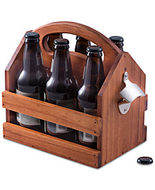 Bey-Berk 6-Pack Wooden Caddy