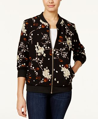 Say What? Juniors' Floral-Print Bomber Jacket
