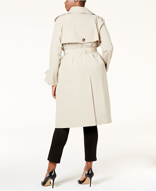 4c87df21768 London Fog Plus Size Hooded Double Breasted Long Trench Coat ...
