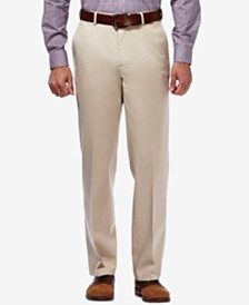 Haggar Men's Premium No Iron Khaki Classic Fit Flat Front Hidden Expandable Waist Pant