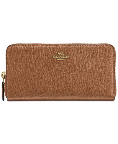 COACH Accordion Zip Wallet in Cross Grain Leather