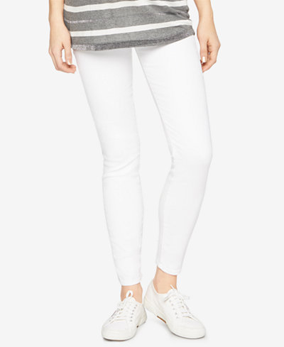 7 For All Mankind Maternity White Wash Skinny Jeans
