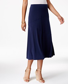 9d8aba6f025 JM Collection Diagonal-Seam Midi Skirt
