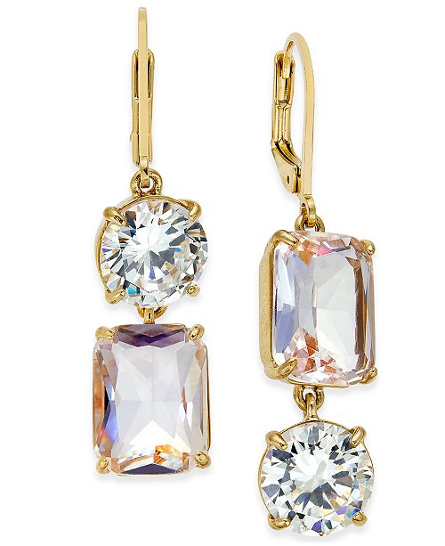 b124c8dbde1ba kate spade new york Gold-Tone Crystal Mismatch Earrings & Reviews ...
