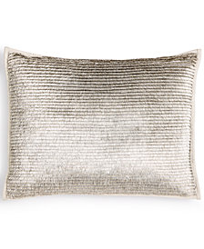 "Calvin Klein Metallic Fringe 12"" x 16"" Decorative Pillow"