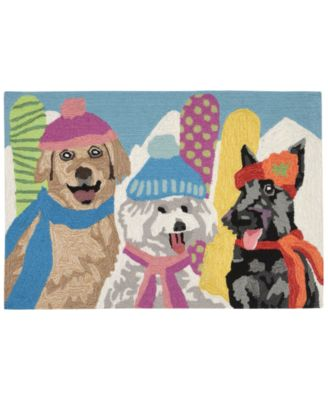 Liora Manne Front Porch Indoor/Outdoor Ski Bunnies Multi 2' x 3' Area Rug