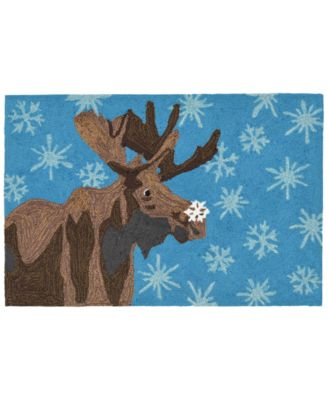 Liora Manne Front Porch Indoor/Outdoor Moose & Snowflake Blue 2' x 3' Area Rug