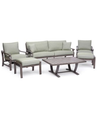 Tara Aluminum Outdoor 6-Pc. Seating Set (1 Sofa, 2 Inside Rocker Chairs, 1 Coffee Table & 2 Ottomans), Created for Macy's