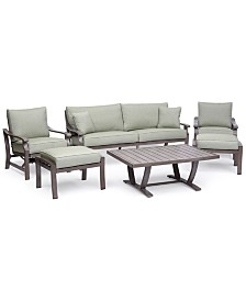 Tara Aluminum Outdoor 6-Pc. Seating Set (1 Sofa, 2 Rocker Chairs, 1 Coffee Table & 2 Ottomans), Created for Macy's