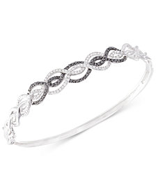 Diamond Swirl Bangle Bracelet (3/4 ct. t.w.) in Sterling Silver