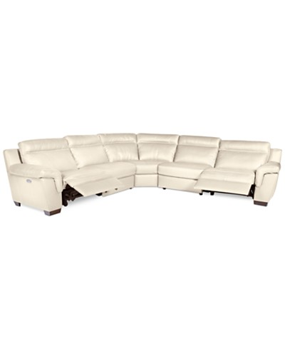 Julius 5-pc Leather Sectional Sofa with 2 Power Recliners, Created for Macy's