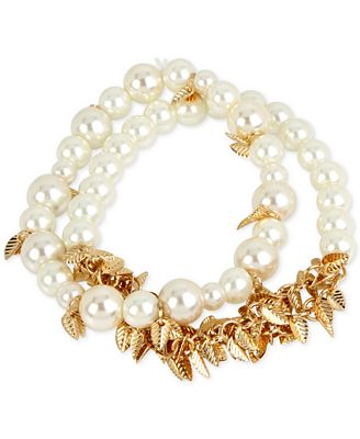 M. Haskell for INC International Concepts 2-Pc. Set Imitation Pearl and Shaky Leaf Stretch Bracelets, Only at Macy's