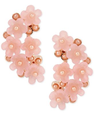M. Haskell for INC International Concepts Rose Gold-Tone Imitation Pearl Flower Cluster Drop Earrings, Only at Macy's