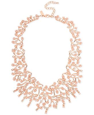 M. Haskell for INC International Concepts Rose Gold-Tone Imitation Pearl and Crystal Statement Necklace, Only at Macy's