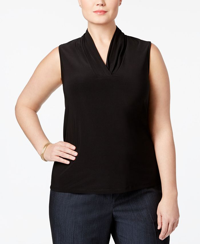 Anne Klein - Plus Size Pleated Shell