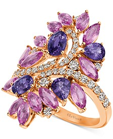Precious Collection Multi-Sapphire (4 ct. t.w.) and Diamond (1/2 ct. t.w.) Ring in 14k Rose Gold