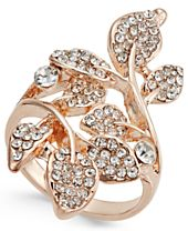 INC International Concepts Rose Gold-Tone Pavé Multi-Leaf Ring, Created for Macy's
