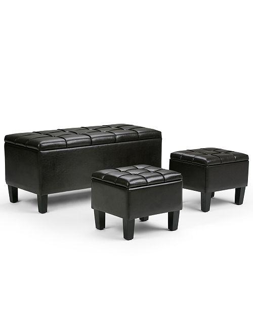 Simpli Home Dover Faux Leather 3-Piece Storage Ottoman Set,
