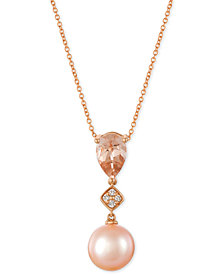 Le Vian® Peach Morganite™ (9/10 ct. t.w.), Pink Cultured Freshwater Pearl (10mm) and Diamond Accent Pendant Necklace in 14k Rose Gold