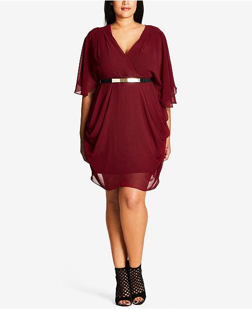 Trendy Chiffon Ruby Draped Size City Plus Dress Chic 8Tx5C44q