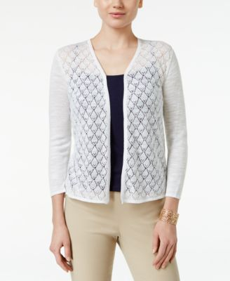 Image of Charter Club Diamond-Stitch Open-Front Cardigan, Only at Macy's