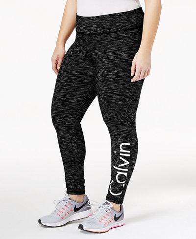 Calvin Klein Performance Plus Size Metallic Logo Leggings