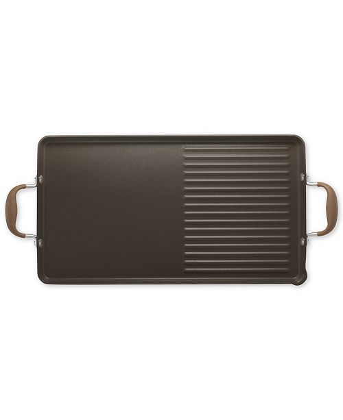 "Anolon Advanced Bronze 10"" x 18"" Double Burner Griddle and Grill Pan with Pour Spouts"