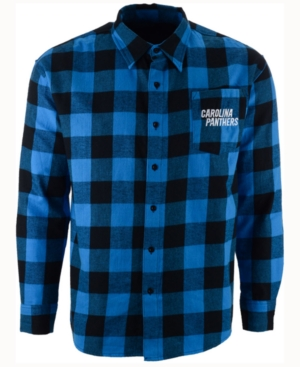 Men's Carolina Panthers Large Check Flannel Button Down Shirt