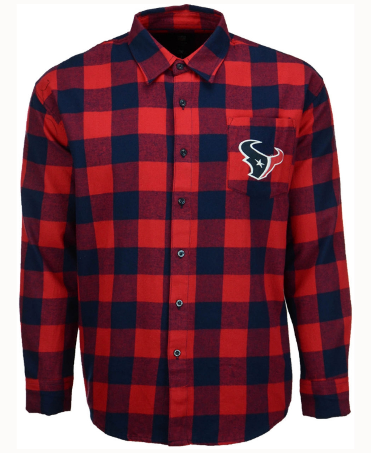 Forever Collectibles Men's Houston Texans Large Check Flannel Button Down Shirt