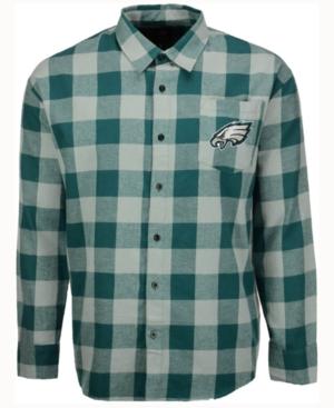 Men's Philadelphia Eagles Large Check Flannel Button Down Shirt