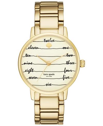 kate spade new york Women's Gramercy Gold-Tone Stainless Steel Bracelet Watch 34mm KSW1060