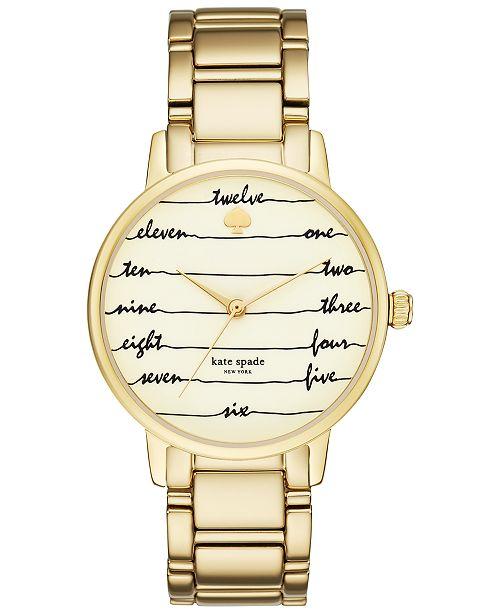 dc87b7337 ... kate spade new york Women's Gramercy Gold-Tone Stainless Steel Bracelet  Watch 34mm KSW1060 ...