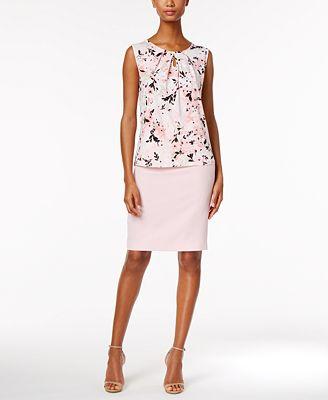 Kasper Pleat-Neck Shell & Pencil Skirt