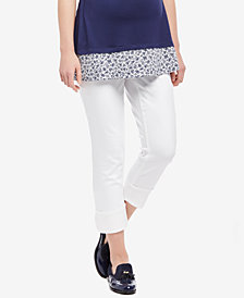 Motherhood Maternity White Wash Cropped Jeans