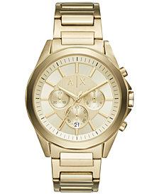 A|X Armani Exchange Men's Gold-Tone Stainless Steel Bracelet Watch 44mm AX2602