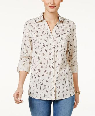 Style & Co Petite Cotton Bird-Print Shirt, Created for Macy's