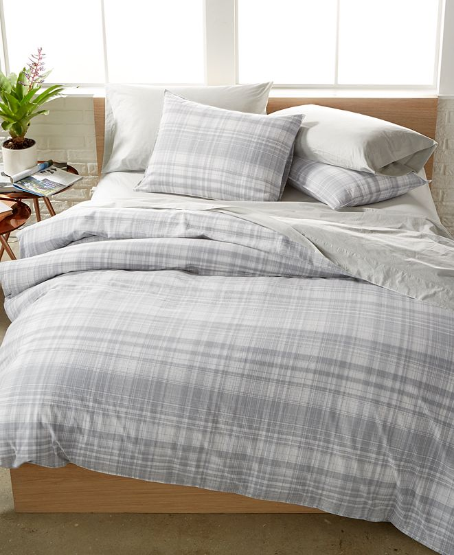 Calvin Klein CLOSEOUT! Washed Essentials Faded Plaid Bedding Collection