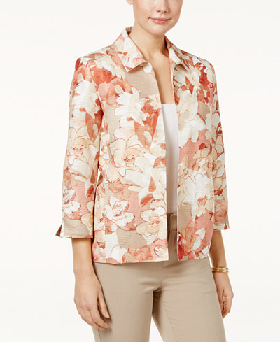 Alfred dunner just peachy floral print jacket coats for Alfred dunner wedding dresses