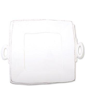 VIETRI Lastra White Collection Handled Square Platter