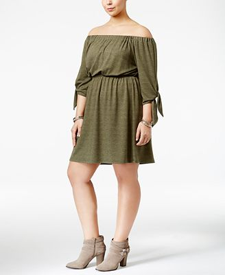 Soprano Trendy Plus Size Off-The-Shoulder Dress