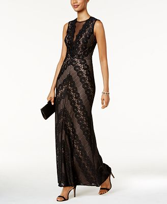 Nightway Illusion Lace Gown