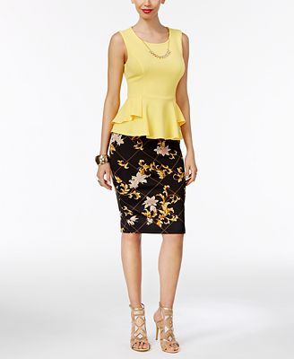 Thalia Sodi Peplum Necklace Top & Printed Pencil Skirt, Only at Macy's
