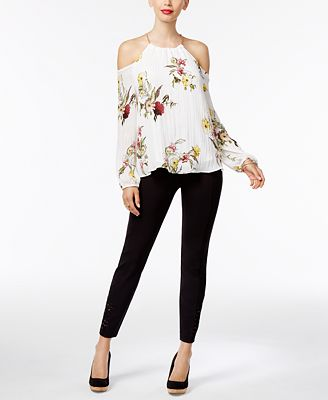 Thalia Sodi Cold-Shoulder Hardware Top & Lace-Trim Pants, Only at Macy's