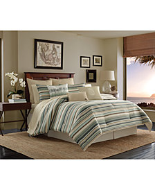 CLOSEOUT! Tommy Bahama Home Canvas Cotton Stripe Queen 3-Pc. Duvet Cover Set