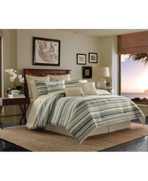 Tommy Bahama Home Canvas Cotton Stripe King Duvet Cover Set Bedding