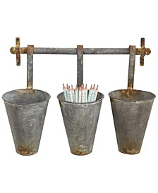 Metal Wall Rack and 3 Tin Pots with Hangers