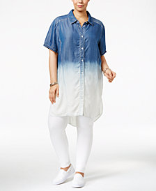 Poetic Justice Trendy Plus Size Chambray Shirtdress