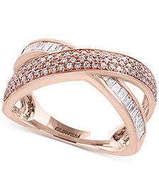 Pavé Rose by EFFY® Diamond Crisscross Ring  (5/8 ct. t.w.) in 14k Rose Gold