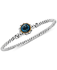 EFFY® Balissima Blue Topaz Twist Bangle Bracelet (3-5/8 ct. t.w.) in Sterling Silver and 18k Gold